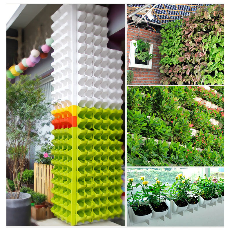 Stackable 2 Pocket Wall Planter Hanging Flower Pot Self