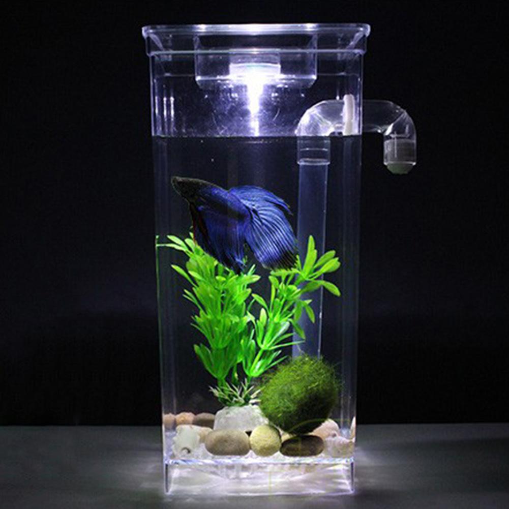Freshwater aquarium fish ecosystem - Plastic Round Square Fish Tank Aquarium Self Cleaning Ecological Fish Bowl