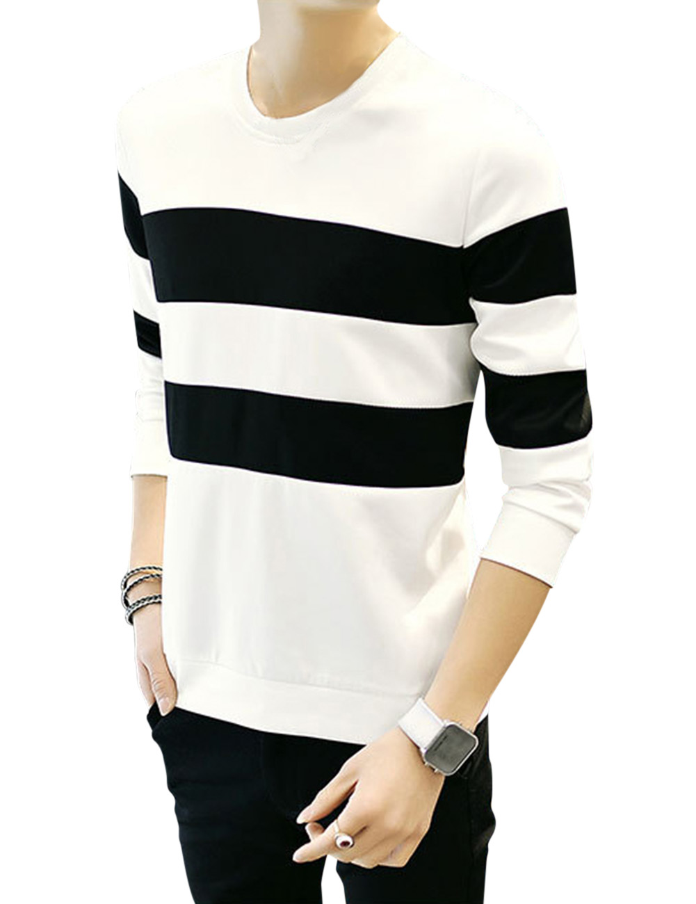 Men 39 s casual wide striped splicing long sleeve slim cotton for Mens striped long sleeve t shirt